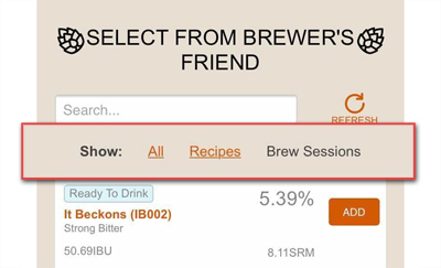 Import Brewer's Friend Brew Sessions